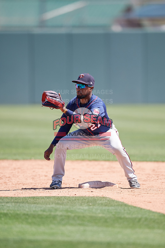 Minnesota Twins Emmanuel Morel (27) during a Minor League Spring Training game against the Tampa Bay Rays on March 15, 2018 at CenturyLink Sports Complex in Fort Myers, Florida.  (Mike Janes/Four Seam Images)