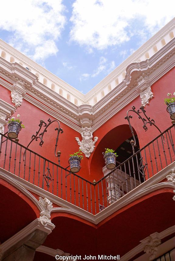 Courtyard of the  Museo Casa del Alfenique, Puebla, Mexico. The historical center of Puebla is a UNESCO World Heritage Site.