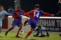 Daniel Sparkes of Dagenham scores the second Daggers goal during Dagenham & Redbridge vs Boreham Wood, Vanarama National League Football at the Chigwell Construction Stadium on 9th January 2018