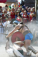 Gladiators fighting at the gladiator school in Rome..Gladiatori del Gruppo storico durante un combattimento