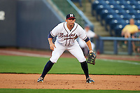 Mississippi Braves first baseman Seth Loman (22) during a game against the Pensacola Blue Wahoos on May 27, 2015 at Trustmark Park in Pearl, Mississippi.  Pensacola defeated Mississippi 7-5 in fourteen innings.  (Mike Janes/Four Seam Images)