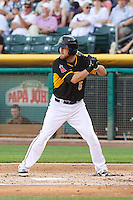 Shawn O'Malley (5) of the Salt Lake Bees in action against the Sacramento River Cats at Smith's Ballpark on June 6, 2014 in Salt Lake City, Utah.  (Stephen Smith/Four Seam Images)