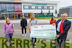 A presentation of €4054 going to the Friends of Kerry Universery Hospital from Hazel Byrne to Dr Tom McCormack at the Sports Academy in the I T. Tralee on Thursday. The money was raised from a fundraiser encouraging groups to take the Million steps fundraising challenge during the lockdown.  <br /> Front: Hazel Byrne and Dr Tom McCormack.<br /> Back l to r: Marie Hayes, Michela Brosnan and Sandra Courtney.