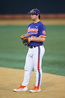 Clemson Tigers first baseman Chris Williams (27) on defense against the Wake Forest Demon Deacons at David F. Couch Ballpark on March 12, 2016 in Winston-Salem, North Carolina.  The Tigers defeated the Demon Deacons 6-5.  (Brian Westerholt/Four Seam Images)