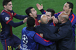 10.04.2013 Barcelona, Spain. Champions league Quarter-final row 2. Picture show Pedro after scoring during match between FC Barcelona against Paris SG at Camp Nou