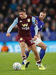 Jack Grealish of Aston Villa tacked by Jonny Evans of Leicester City during the Carabao Cup match at the King Power Stadium, Leicester. Picture date: 8th January 2020. Picture credit should read: Darren Staples/Sportimage