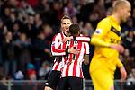 Nederland, Eindhoven, 31 maart 2012.Eredivisie.Seizoen 2011-2012.PSV-VVV.Tim Matavz van PSV juicht na het scoren van de 1-0 en wordt gefeliciteerd door Jeremain Lens