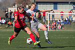 KANSAS CITY, MO - DECEMBER 02: Courtney Killian (4) of the University of Central Missouri and Lauren Wade (11) of Carson-Newman University contest for a loose ball during the Division II Women's Soccer Championship held at the Swope Soccer Village on December 2, 2017 in Kansas City, Missouri. (Photo by Doug Stroud/NCAA Photos/NCAA Photos via Getty Images)