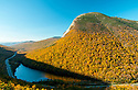 As seen from an outlook near the north end of Franconia Notch, Cannon Mountain is seen to have the classic shape of a 'roche moutonnee' or 'sheepback', only on a giant scale. Profile Lake at it's base is another geological formation known as a 'kettle pond'.