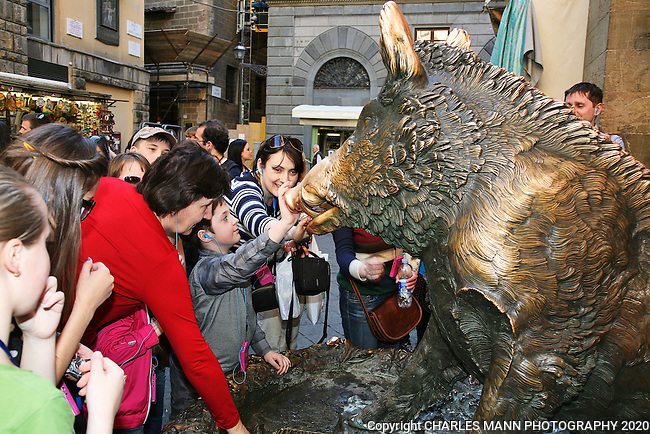 Rubbing the nose of the Little Pig at the Mercato Nuovo in Florence is said to guarantee that you will return to the city again some day.
