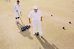 Players compete during a two-day lawnbowling tournament near the Lakeview Recreation Center in Sun City, Arizona, December 2013.