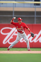 Palm Beach Cardinals second baseman Brett Wiley (26) throws to first during the first game of a doubleheader against the Dunedin Blue Jays on July 31, 2015 at Florida Auto Exchange Stadium in Dunedin, Florida.  Dunedin defeated Palm Beach 7-0.  (Mike Janes/Four Seam Images)