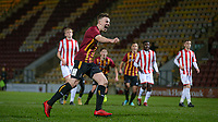 Eliot Goldthorp of Bradford City U18 celebrates scoring a penalty to make it 1-0 during the FA Youth Cup match between Bradford City U18 and Stoke City U18 at the Northern Commercial Stadium, Bradford, England on 12 December 2019. Photo by Thomas Gadd.