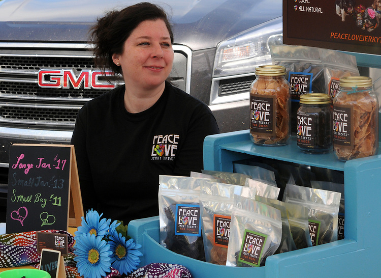 PeaceLove Jerky Treats booth at the Opening Day of the 2017 Saugerties Farmer's Market on Saturday, May 27, 2017. Photo by Jim Peppler. Copyright/Jim Peppler-2017.