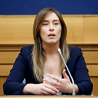 Maria Elena Boschi<br /> Rome April 4th 2019. Press conference of Democratic Party about the bus accident happened 3 years ago in Freginals, Spain in which 7 Italian girls lost their lives, to press the Italian Government to ask for justice to the Spanish authorities.<br /> photo di Samantha Zucchi/Insidefoto