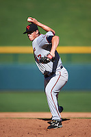 Scottsdale Scorpions pitcher Trevor Hildenberger (47) delivers a pitch during an Arizona Fall League game against the Mesa Solar Sox on October 19, 2015 at Sloan Park in Mesa, Arizona.  Scottsdale defeated Mesa 10-6.  (Mike Janes/Four Seam Images)