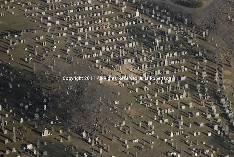 Aerial view of cemetery, graveyard.