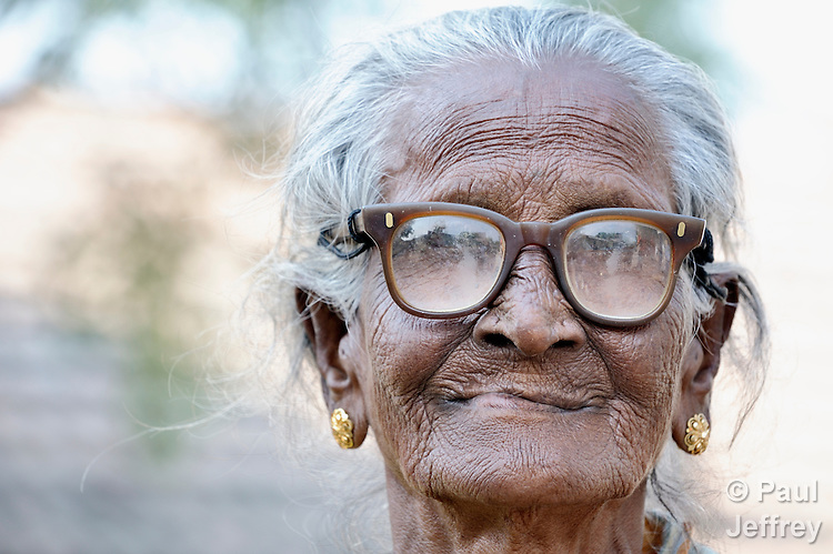 An old woman in Natham, a small town in the southern India state of Tamil Nadu.
