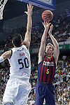 Real Madrid's Salah Mejri (l) and FC Barcelona's Justin Doellman during Liga Endesa ACB 2nd Final Match.June 21,2015. (ALTERPHOTOS/Acero)
