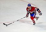 22 November 2008: Montreal Canadiens' defenseman Josh Gorges in action against the Boston Bruins during the third period at the Bell Centre in Montreal, Quebec, Canada.  After a 2-2 regulation tie and a non-scoring 5-minute overtime period, the Boston Bruins scored the lone shootout goal thus defeating the Canadiens 3-2. The Canadiens, celebrating their 100th season, honored former Montreal goaltender Patrick Roy, and retired his jersey (Number 33) during pre-game ceremonies. ***** Editorial Use Only *****..Mandatory Photo Credit: Ed Wolfstein Photo *** Editorial Sales through Icon Sports Media *** www.iconsportsmedia.com