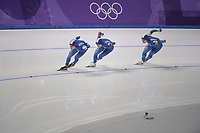 OLYMPIC GAMES: PYEONGCHANG: 21-02-2018, Gangneung Oval, Long Track, Team Pursuit Men, Silver Medalists Team Korea, Kim Min Seok, Chung Jaewon, Lee Seung-Hoon, ©photo Martin de Jong
