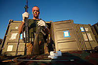 An Italian soldier from the Fifth  Lancieri of Novara regiment of the Italian Cavalry executes a routine weapon maintenance in the UNIFIL Chama base in Southern Lebanon on Friday Dec 08 2006..Close to 1000 Italian peacekeepers operate in  the in Southern lebanon town of Chama, constantly patrolling their sector in search for illegal weapons in the country.