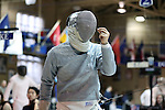 11 February 2017: Duke's Peter Yang expresses frustration during his Saber match. The Duke University Blue Devils hosted the Boston College Eagles at Card Gym in Durham, North Carolina in a 2017 College Men's Fencing match. Duke won the dual match 18-9 overall, 9-0 Foil, and 6-3 Saber. Boston College won Epee 6-3.
