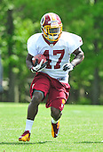 Running back Jawan Jamison (47) the Washington Redskins' seventh round pick out of Florida State in the recent NFL draft, participates in the team's rookie minicamp at Redskins Park in Ashburn, Virginia on Sunday, May 5, 2013..Credit: Ron Sachs / CNP