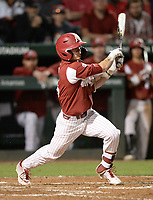 NWA Democrat-Gazette/ANDY SHUPE<br /> Arkansas shortstop Casey Martin hits a go-ahead, RBI single Friday, May 10, 2019, during the seventh inning against LSU at Baum-Walker Stadium in Fayetteville. Visit nwadg.com/photos to see more photographs from the game.