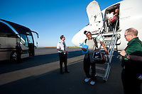 DENVER, CO--Nneka Ogwumike is greeted by NCAA staff upon arrival in Denver, CO for the 2012 NCAA Women's Final Four.
