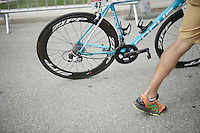Alexis Gougeard's (FRA/Ag2r-La Mondiale) bike is dragged after the finish line; his derailleur broke down near the finish<br /> <br /> Stage 18 (ITT) - Sallanches › Megève (17km)<br /> 103rd Tour de France 2016