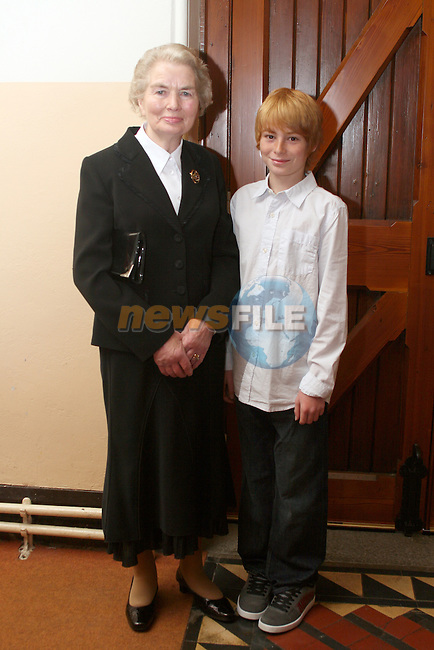 Alex Agrios with his sponsor, Briege Murphy at Termonfeckin Confirmation...Photo NEWSFILE/Jenny Matthews.(Photo credit should read Jenny Matthews/NEWSFILE)....This Picture has been sent you under the condtions enclosed by:.Newsfile Ltd..The Studio,.Millmount Abbey,.Drogheda,.Co Meath..Ireland..Tel: +353(0)41-9871240.Fax: +353(0)41-9871260.GSM: +353(0)86-2500958.email: pictures@newsfile.ie.www.newsfile.ie.FTP: 193.120.102.198.