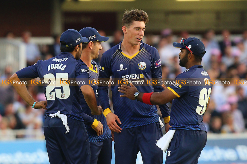 Daniel Lawrence of Essex (C) celebrates taking the wicket of Nick Gubbins during Middlesex vs Essex Eagles, NatWest T20 Blast Cricket at Lord's Cricket Ground on 28th July 2016