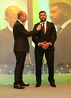 Thursday 10th May 2018 | Ulster Rugby Awards 2018<br /> <br /> Stephen Watson interviews Charles Piutau, during the 2018 Heineken Ulster Rugby Awards at La Mom Hotel, Belfast. Photo by John Dickson / DICKSONDIGITAL