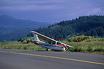 Cessna airplane crashed on runway after landing gear collapsed, Eureka, Humboldt County, CALIFORNIA