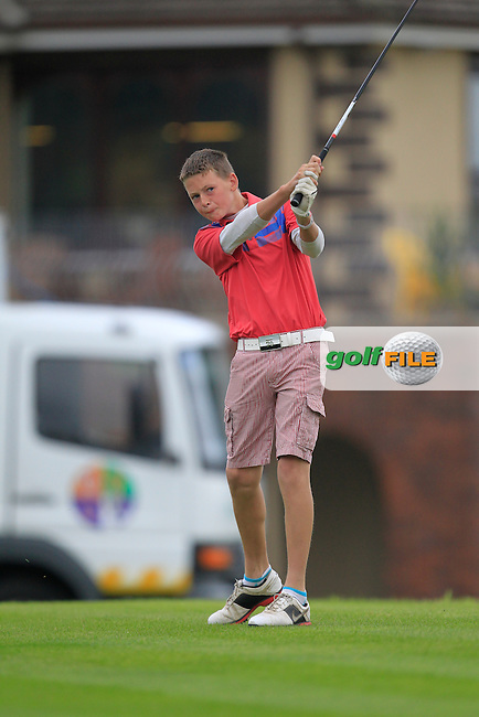 Killian Cotter (Doneraile) on the 1st tee during the Irish Boys Under 15 Amateur Open Championship Round 2 at the West Waterford Golf Club on Wednesday 21st August 2013 <br /> Picture:  Thos Caffrey/ www.golffile.ie