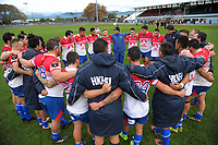 The Horowhenua Kapiti team huddles after the preseason provincial rugby match between Horowhenua Kapiti and Wellington at Levin Domain in Levin, New Zealand on Monday, 4 May 2018. Photo: Dave Lintott / lintottphoto.co.nz