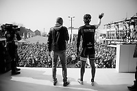 Fabian Cancellara (CHE/TrekFactoryRacing) waiving to the start crowd<br /> <br /> 57th E3 Harelbeke 2014