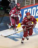 Jake Horton (Harvard - 19), Adam Fox (Harvard - 18) - The University of Minnesota Duluth Bulldogs defeated the Harvard University Crimson 2-1 in their Frozen Four semi-final on April 6, 2017, at the United Center in Chicago, Illinois.