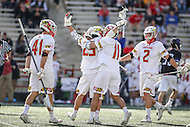 College Park, MD - February 18, 2017: Maryland Terrapins Dylan Maltz (25) celebrates after scoring a goal during game between High Point and Maryland at  Capital One Field at Maryland Stadium in College Park, MD.  (Photo by Elliott Brown/Media Images International)