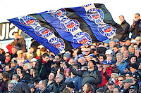 A Bath supporter in the crowd waves a giant flag. Amlin Challenge Cup match, between Bath Rugby and Calvisano on December 8, 2012 at the Recreation Ground in Bath, England. Photo by: Patrick Khachfe / Onside Images