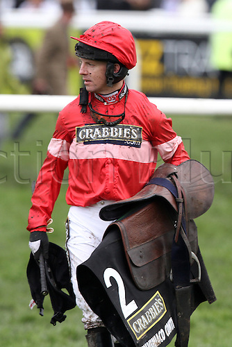 09.04.2016. Aintree, Liverpool, England. Crabbies Grand National Rac during  Festival Day 3.  Jockey Noel Fehily after the end of the race.