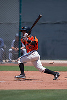 San Francisco Giants Orange shortstop Anyesber Sivira (32) follows through on his swing during an Extended Spring Training game against the Seattle Mariners at the San Francisco Giants Training Complex on May 28, 2018 in Scottsdale, Arizona. (Zachary Lucy/Four Seam Images)