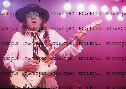 Stevie Ray Vaughan - performing live at L'Olympia in Paris France - 23 Sep 1986.  Photo credit: Christian Rose/Dalle/IconicPix
