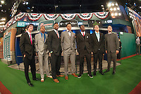 Grant Holmes (Conway H.S. (SC))  Los Angeles Dodgers, Derek Hill (Elk Grove H.S. (CA)) Detroit Tigers, Monte Harrison (Lee's Summit West H.S. (MO)) Milwaukee Brewers, Jacob Gatewood (Clovis H.S. (CA)) Milwaukee Brewers, Nick Gordon (Olympia H.S. (FL)) Minnesota Twins, Kodi Medeiros (Waiakea H.S. (HI)) Milwaukee Brewers, Michael Chavis  (Sprayberry Senior H.S. (GA) Boston RedSox during the MLB Draft on Thursday June 05,2014 at Studio 42 in Secaucus, NJ.   (Tomasso DeRosa/ Four Seam Images)