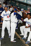 LOS ANGELES, CA. - September 02: Andre Ethier and Manny Ramirez of the Los Angeles Dodgers  in the dugout during the game Dodgers vs. the Arizona Diamondbacks at Dodger Stadium in Los Angeles, California on September 2, 2009.