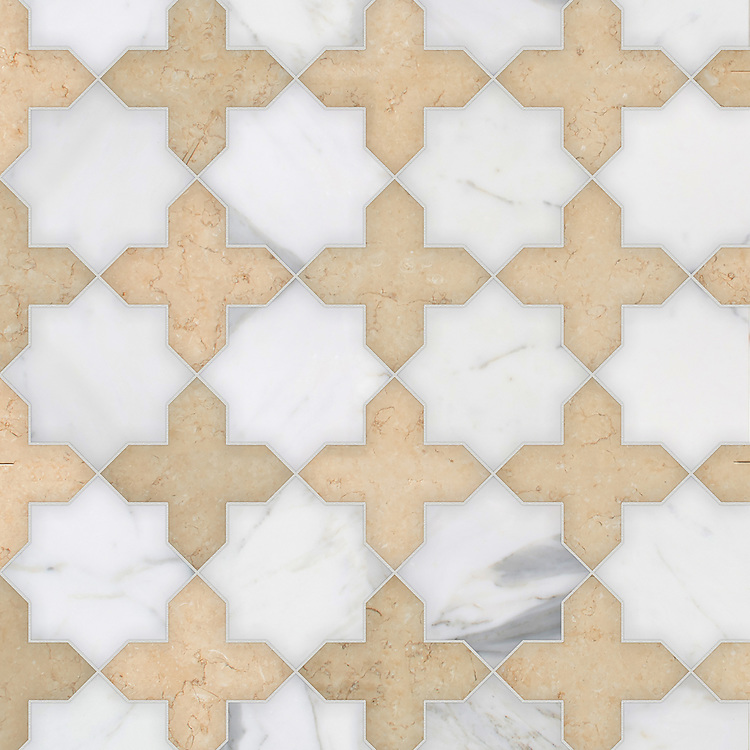 Isaac, a waterjet stone mosaic, shown in polished Calacatta Gold and honed Sylvia Gold, is part of the Semplice® collection for New Ravenna.