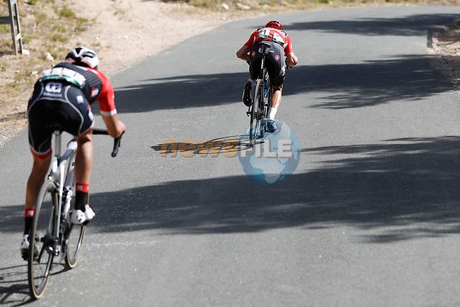 Race leader Chris Froome (GBR) Team Sky and Alberto Contador (ESP) Trek Segafredo descend Alto Xorret de Cat&iacute; during Stage 8 of the 2017 La Vuelta, running 199.5km from Hell&iacute;n to Xorret de Cat&iacute;. Costa Blanca Interior, Spain. 26th August 2017.<br /> Picture: Unipublic/&copy;photogomezsport | Cyclefile<br /> <br /> <br /> All photos usage must carry mandatory copyright credit (&copy; Cyclefile | Unipublic/&copy;photogomezsport)