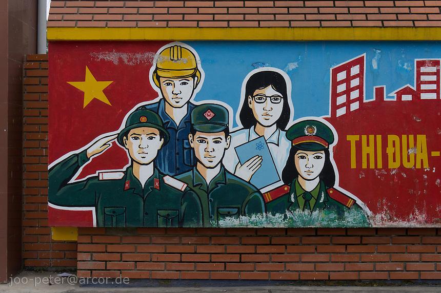communist propaganda billboard in city Hue, Vietnam