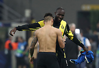 Football Soccer: UEFA Champions League -Group Stage- Group F Internazionale Milano vs Borussia Dortmund, Giuseppe Meazza stadium, October 23, 2019.<br /> Inter's Lautaro Martinez (ahead) and Romelu Lukaku (behind) celebrate after winning 2-0 the Uefa Champions League football match between Internazionale Milano and Borussia Dortmund at Giuseppe Meazza (San Siro) stadium, on October 23, 2019.<br /> UPDATE IMAGES PRESS/Isabella Bonotto